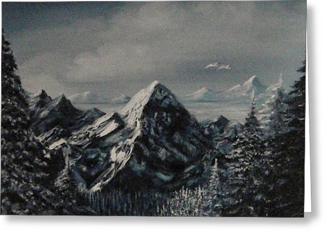 Haze Paintings Greeting Cards - Blue Mountain Greeting Card by Connie Sherman