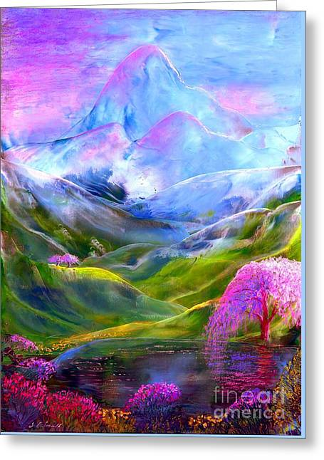 Surreal Fantasy Trees Landscape Greeting Cards - Blue Mountain Pool Greeting Card by Jane Small