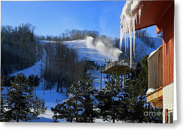 Collingwood Greeting Cards - Blue Mountain Ski Resort Greeting Card by Charline Xia