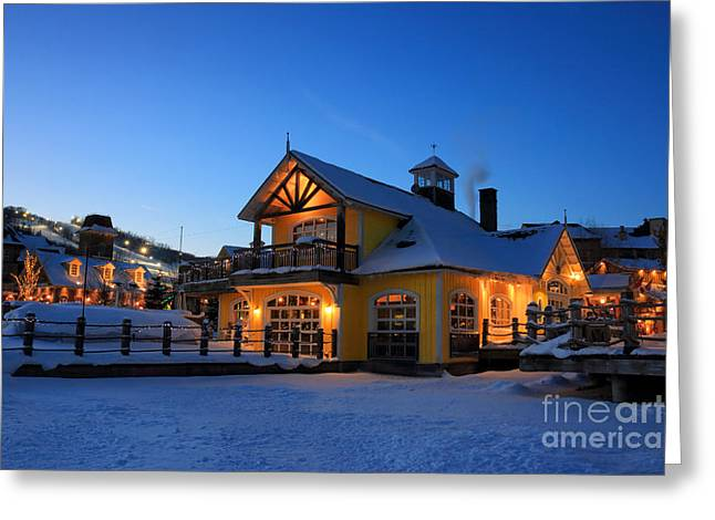 Collingwood Greeting Cards - Blue Mountain Village Night Greeting Card by Charline Xia