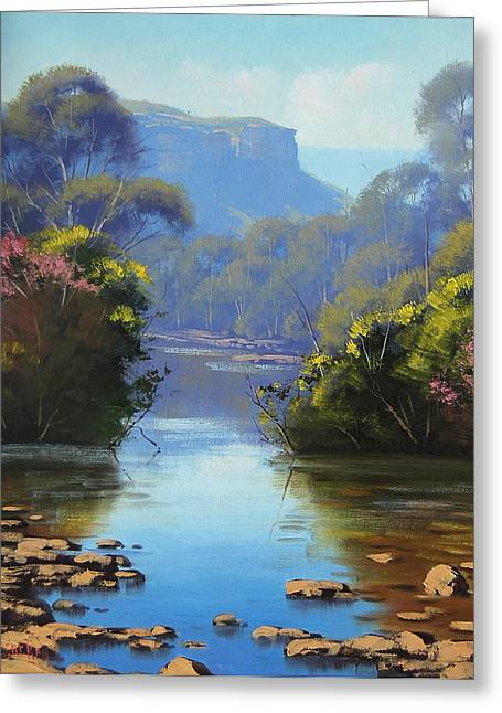 Beautiful Creek Paintings Greeting Cards - Blue Mountains River Greeting Card by Graham Gercken