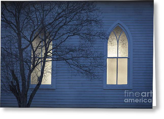 Country Church Greeting Cards - Blue Mulberry Greeting Card by T Lowry Wilson