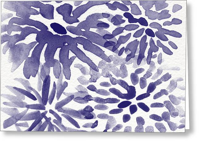 Chrysanthemum Greeting Cards - Blue Mums- Watercolor Floral Art Greeting Card by Linda Woods