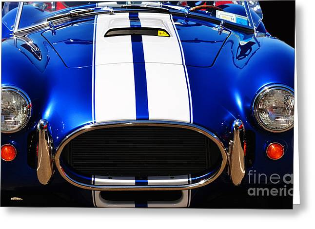 Cobra Poster Greeting Cards - Blue Mustang Cobra Photo Greeting Card by ArtyZen Studios - ArtyZen Home