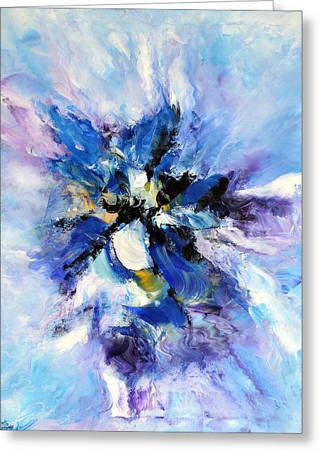 Coloured Greeting Cards - Blue mystery Greeting Card by Isabelle Vobmann