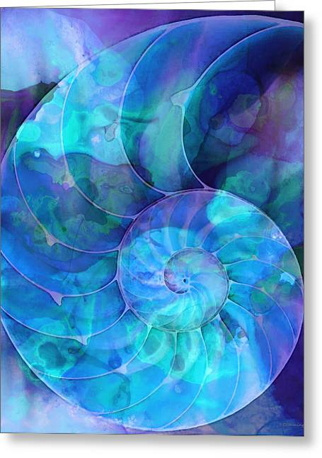 Colorful Geometric Greeting Cards - Blue Nautilus Shell By Sharon Cummings Greeting Card by Sharon Cummings