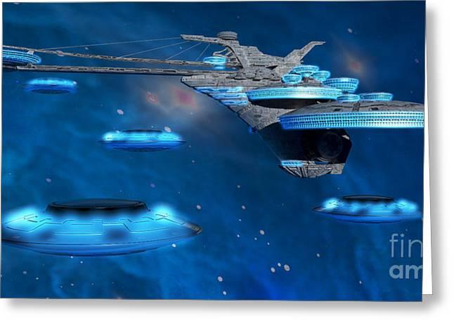 Blue Nebula Expanse Greeting Card by Corey Ford