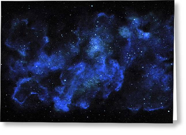 Glow Murals Greeting Cards - Blue Nebula Greeting Card by Frank Wilson