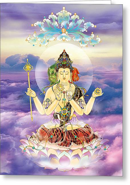 Kuan Greeting Cards - Blue-neck Kuan Yin Greeting Card by Lanjee Chee