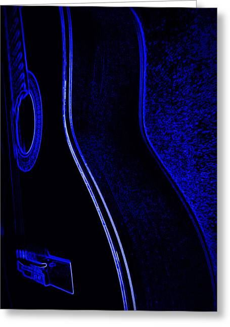 Artwork Ceramics Greeting Cards - Blue Neon Acoustic Guitar Greeting Card by Laurie Pike