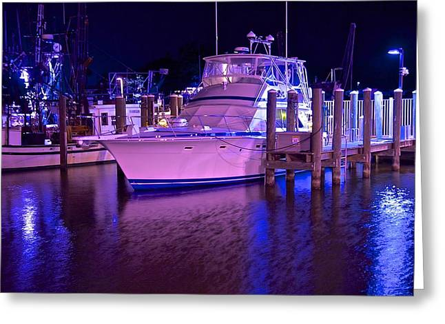 Docked Boat Pyrography Greeting Cards - Blue Night  Greeting Card by Mike Price