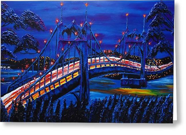 Blue Night Of St. Johns Bridge #14 Greeting Card by Portland Art Creations
