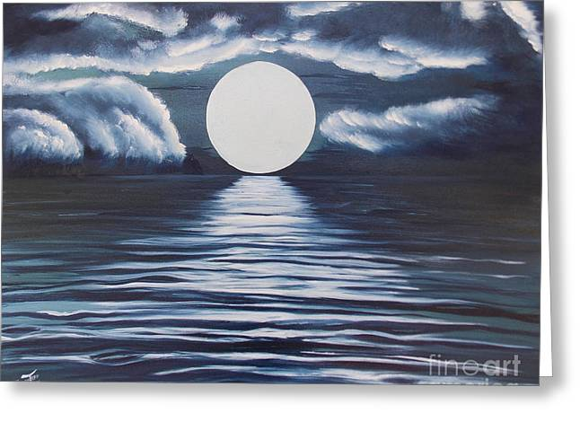 Seacape Greeting Cards - Blue Nightscape Greeting Card by Merrin Jeff