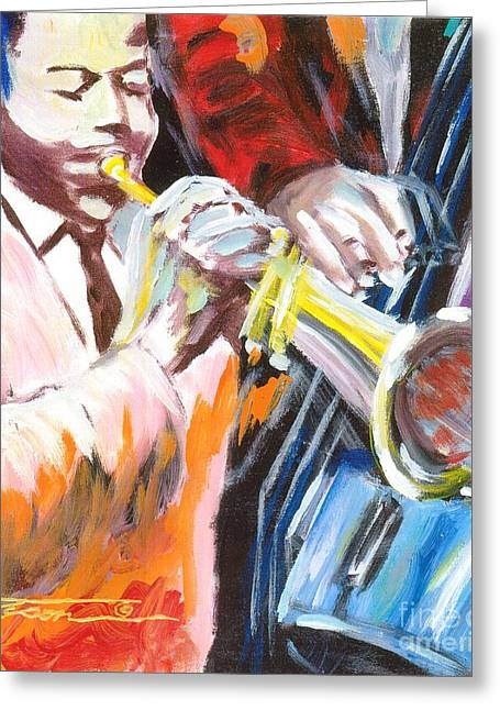 Blackart Greeting Cards - Blue Notes Greeting Card by Jonathan Tyson