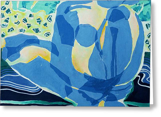 Blue Nude Greeting Card by Diane Fine