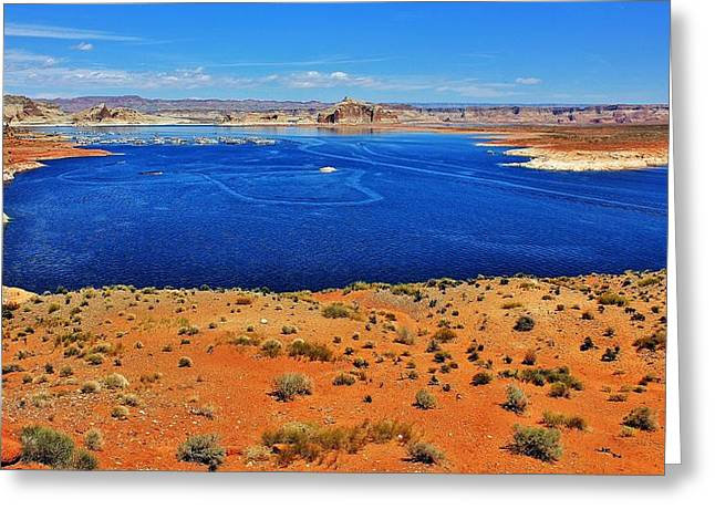 Desert Lake Greeting Cards - Blue Oasis Greeting Card by Benjamin Yeager