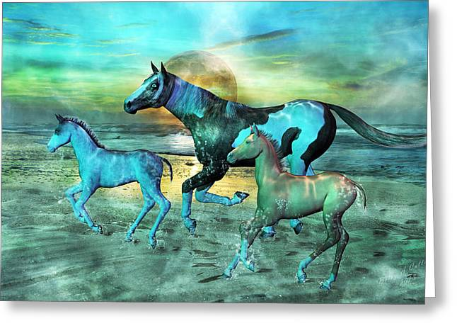 Carolina Mixed Media Greeting Cards - Blue Ocean Horses Greeting Card by Betsy C  Knapp