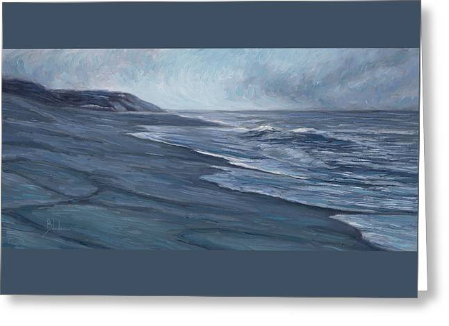 Beach Scenery Paintings Greeting Cards - Blue Ocean Greeting Card by Lucie Bilodeau