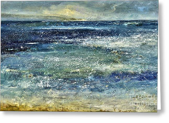 Roiling Greeting Cards - Blue Ocean Greeting Card by Shijun Munns