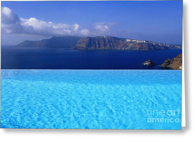 Water Swimming Pool Greeting Cards - Blue On Blue Greeting Card by Aiolos Greek Collections