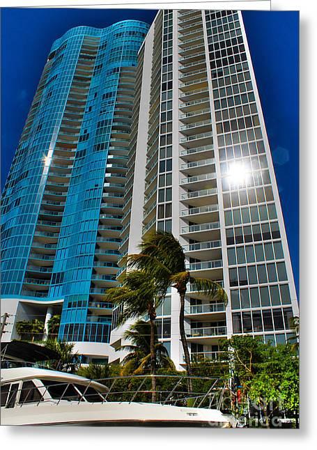 Aqua Condominiums Photographs Greeting Cards - Blue on blue Greeting Card by Claudia Mottram