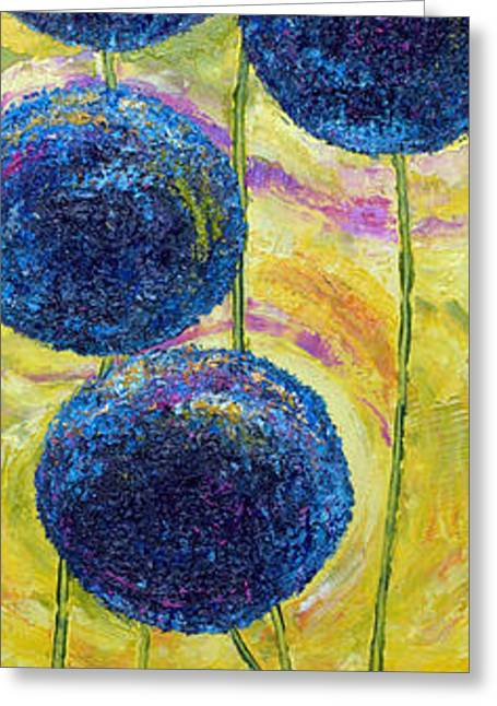 Romaine Paintings Greeting Cards - Blue Onion Blossoms and Romaine Greeting Card by Paris Wyatt Llanso