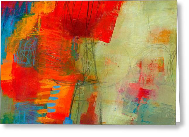 Acrylic Greeting Cards - Blue Orange 1 Greeting Card by Jane Davies
