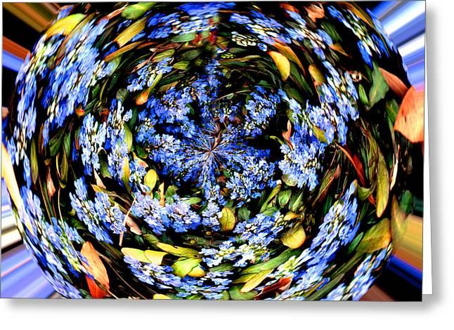 Fractal Orbs Greeting Cards - Blue Orb II Greeting Card by Jeff McJunkin