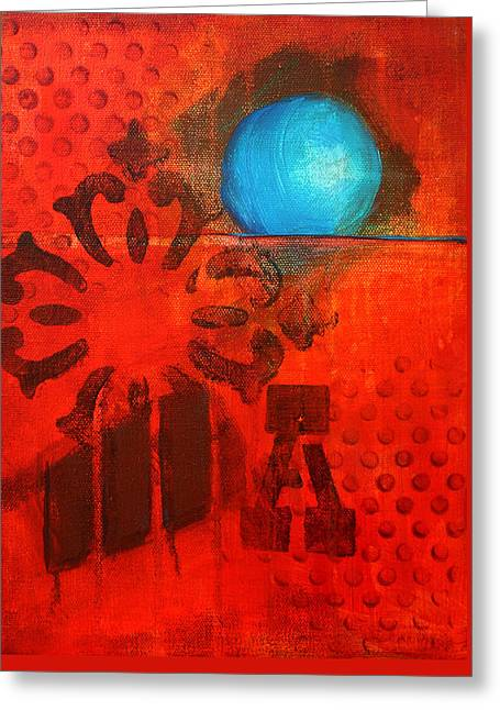 Rectangles Greeting Cards - Blue Orb Greeting Card by Nancy Merkle