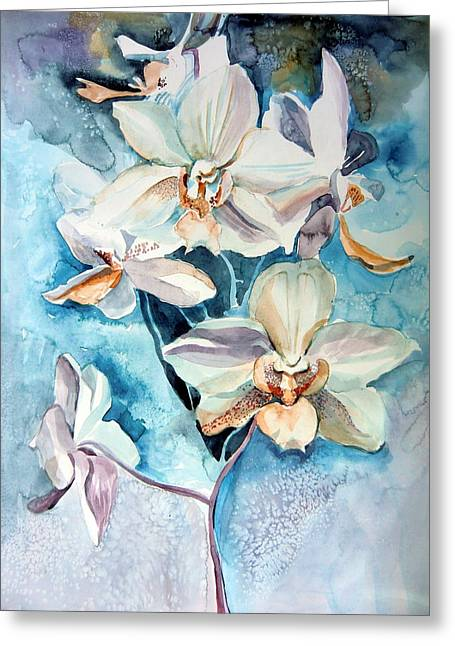 Blue Orchid Greeting Card by Mindy Newman