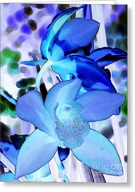 Bloosom Greeting Cards - Blue Orchids Greeting Card by Kathleen Struckle