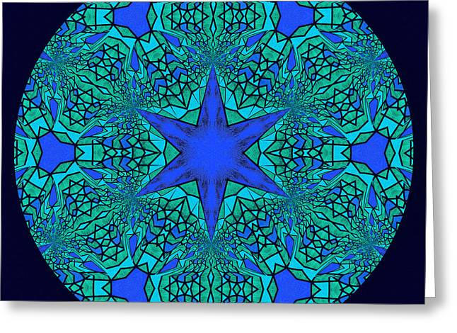 Blue Ornamental Mandala Greeting Card by Georgiana Romanovna