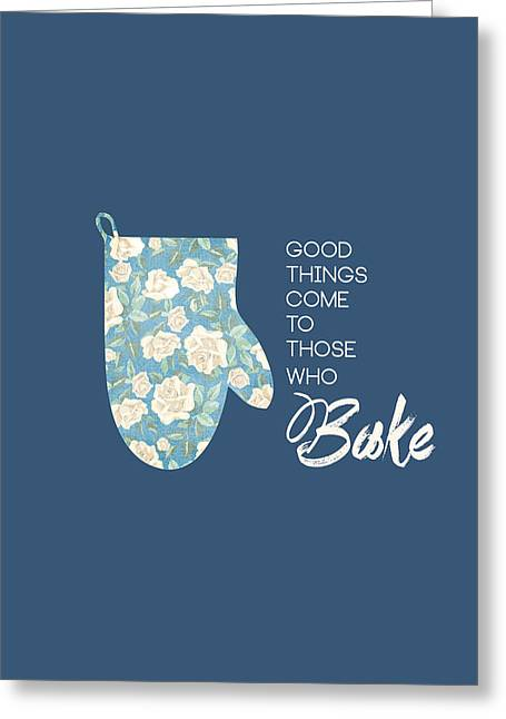Food Digital Greeting Cards - Blue Oven Mitt Greeting Card by Nancy Ingersoll