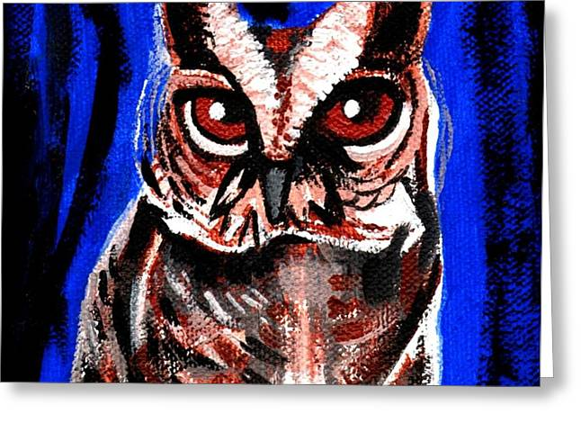 Stl Greeting Cards - Blue Owl Greeting Card by Genevieve Esson