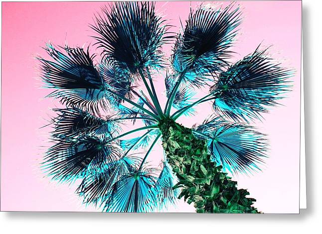 Turquois Greeting Cards - Blue Palm Tree with Pink Sky Greeting Card by Marianna Mills
