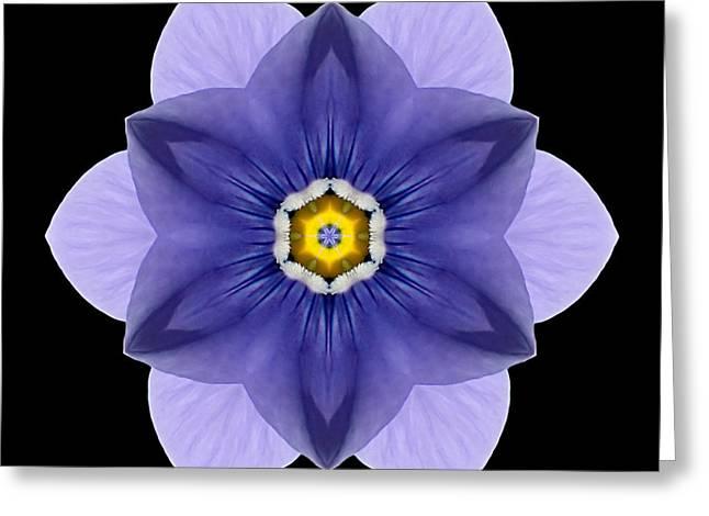 Blue Pansy I Flower Mandala Greeting Card by David J Bookbinder