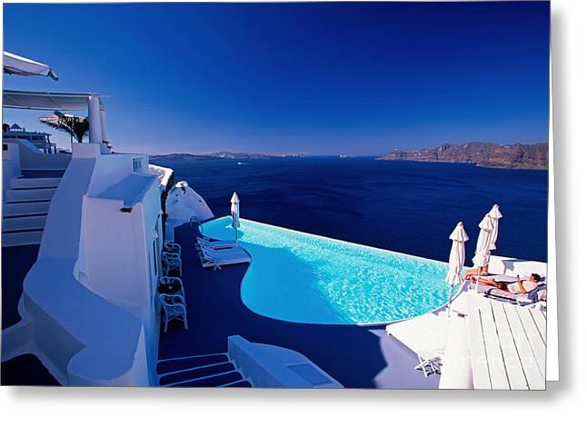 Water Swimming Pool Greeting Cards - Blue Paradise Greeting Card by Aiolos Greek Collections
