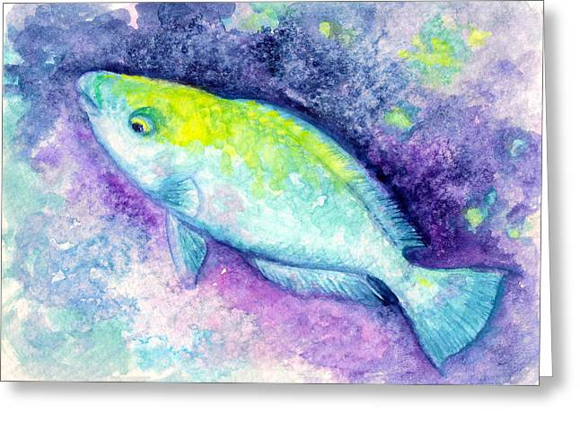Parrotfish Print Greeting Cards - Blue Parrotfish Greeting Card by Ashley Kujan