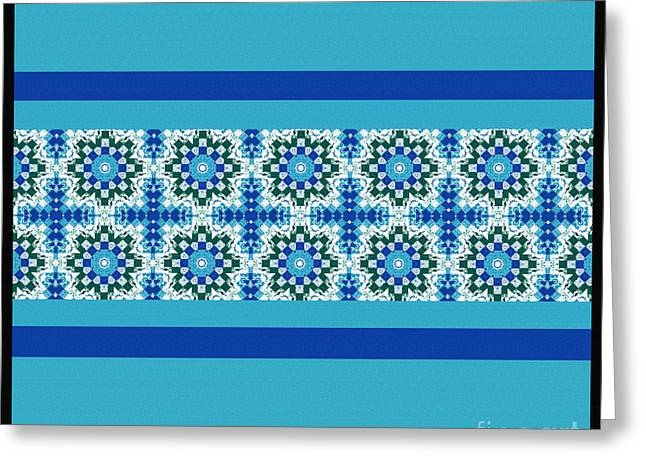 Print Tapestries - Textiles Greeting Cards - Blue Patchwork 2 Greeting Card by Barbara Griffin