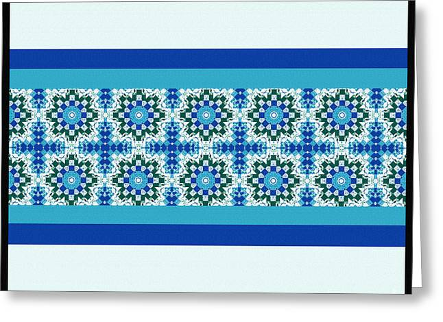 Blue Tapestries - Textiles Greeting Cards - Blue Patchwork  Greeting Card by Barbara Griffin