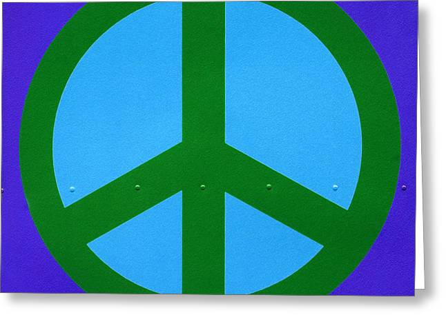 Peace Square Format Greeting Cards - Blue Peace Symbol Greeting Card by Art Block Collections