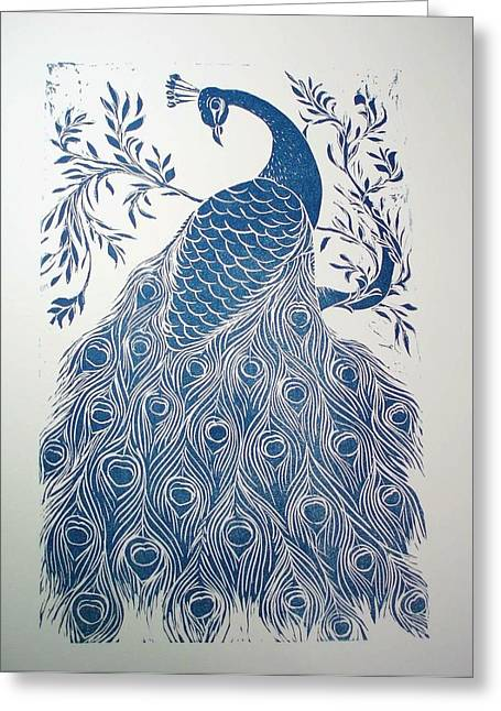 Pet Reliefs Greeting Cards - Blue Peacock Greeting Card by Barbara Anna Cichocka