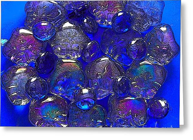 Flower Still Life Glass Art Greeting Cards - Blue Pebble Flower Greeting Card by Joan-Violet Stretch
