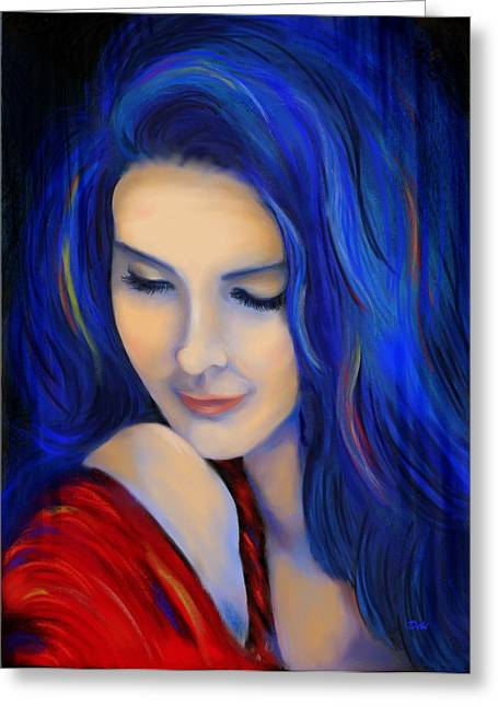 Debi Pople Greeting Cards - Blue Pensive Greeting Card by Debi Starr