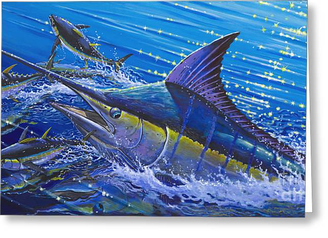 Striped Marlin Greeting Cards - Blue Persuader  Greeting Card by Carey Chen