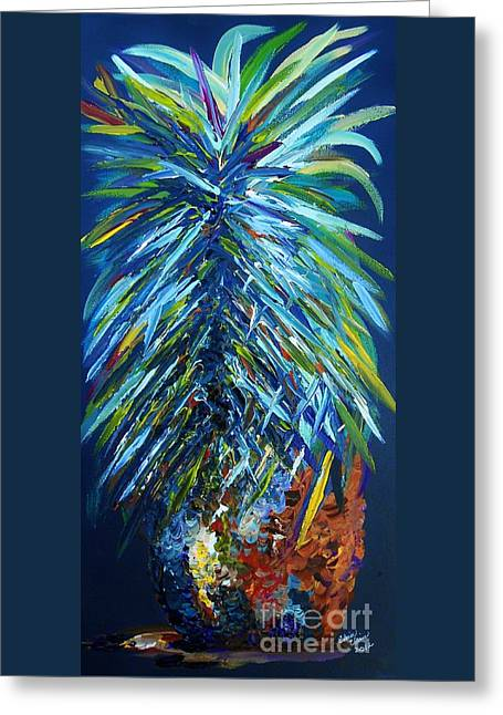 Tropic Greeting Cards - Blue Pineapple Greeting Card by Eloise Schneider