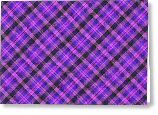 Checked Tablecloths Photographs Greeting Cards - Blue pink and Black Diagnal Plaid Cloth Background Greeting Card by Keith Webber Jr