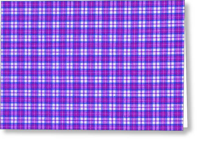 Checked Tablecloths Photographs Greeting Cards - Blue Pink And White Plaid Cloth Background Greeting Card by Keith Webber Jr