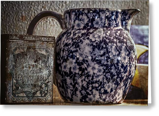 Old Pitcher Greeting Cards - Blue Pitcher Greeting Card by Chandler McGrew