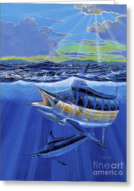 Gamefish Greeting Cards - Blue Pitcher Off00115 Greeting Card by Carey Chen